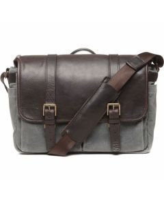 ONA 50/50 Brixton Messenger Bag - Smoke / Dark Truffle Leather